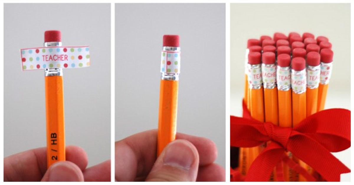 Cute teacher gift: custom pencils