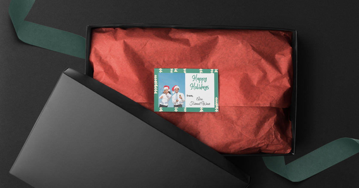 Add personalized holiday messages into your shipments and bags/boxes with printable cardstock inserts