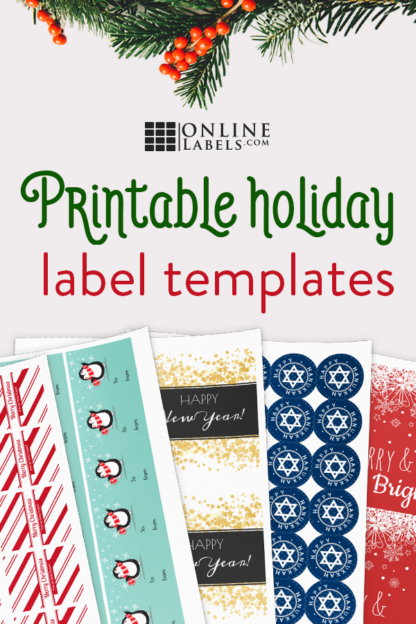 Celebrate the holiday season and specific holidays (Christmas, Hanukkah, and New Year's Eve) with this set of free printable label templates