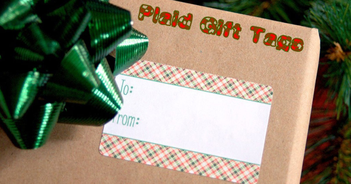 DIY plaid gift tag printable stickers for Christmas present wrapping, 2
