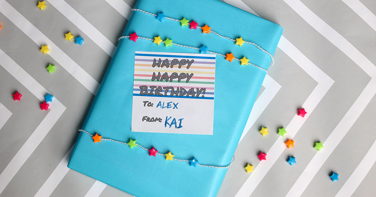 Printable birthday gift tag in use.