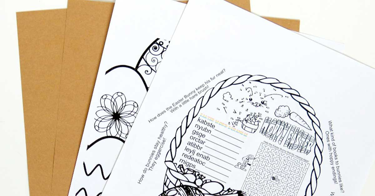 Printables and label supplies needed for Easter activity for kids