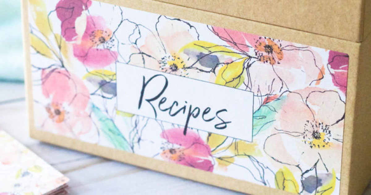 Printable label template for organizing your recipes into a recipe box
