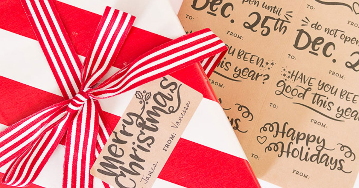 DIY Christmas sayings on present gift tag printable sticker, step 4