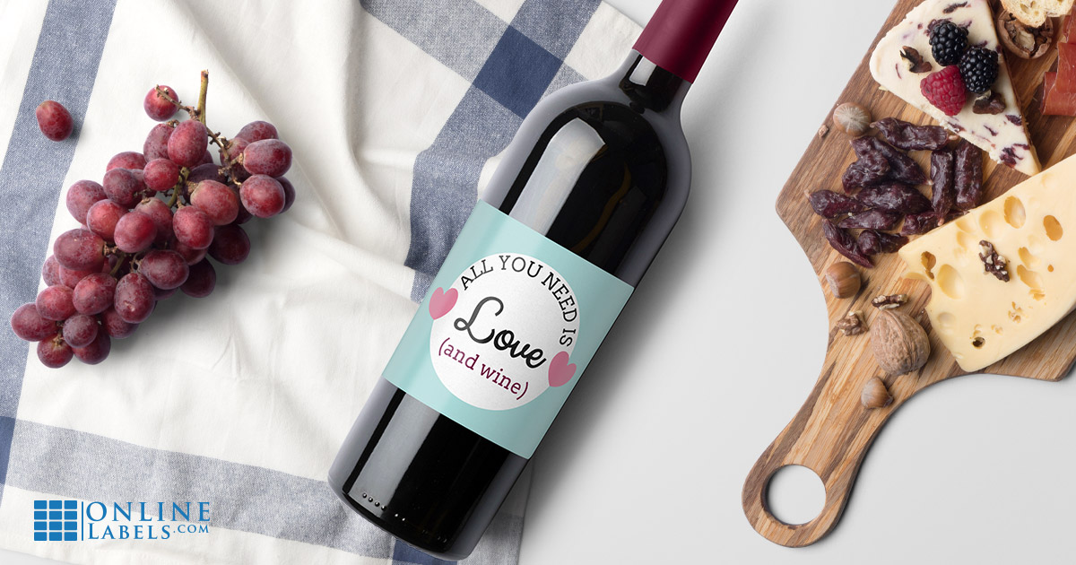 Free wine bottle label templates you can use to celebrate Valentine's Day