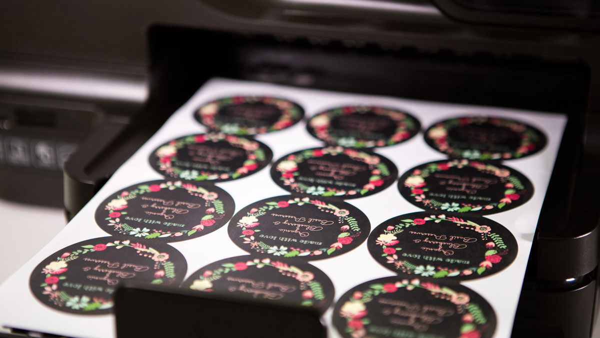 Printing pre-designed labels at home