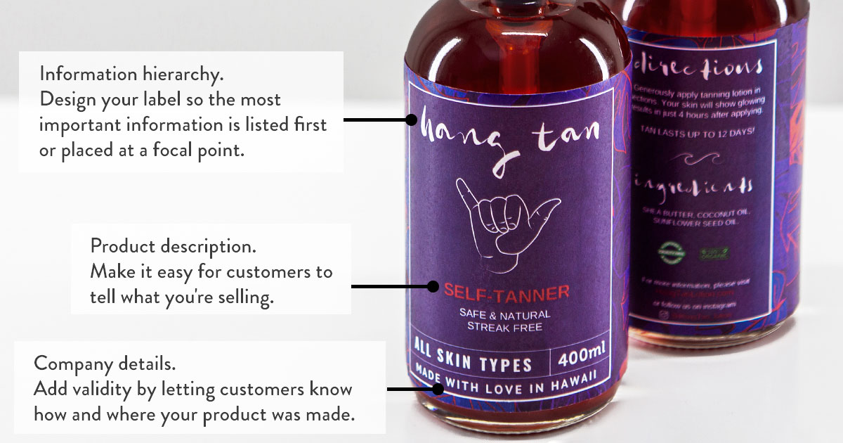 Product label example, what to put on the front