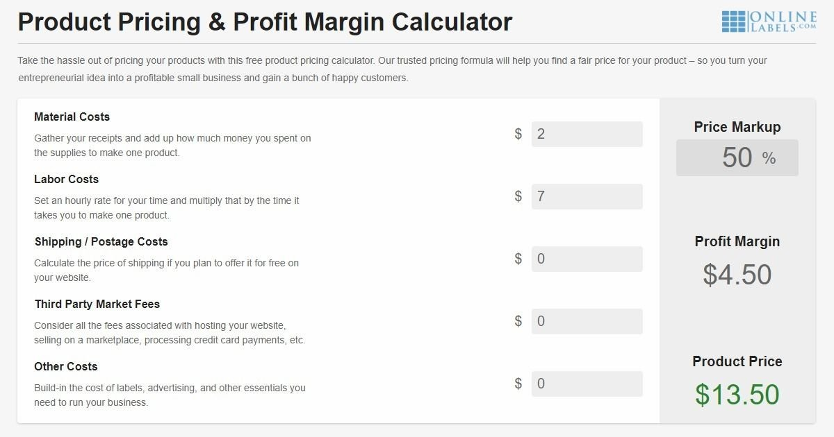 Try the free, easy-to-use product pricing calculator (and profit margin calculator) from OnlineLabels.com.