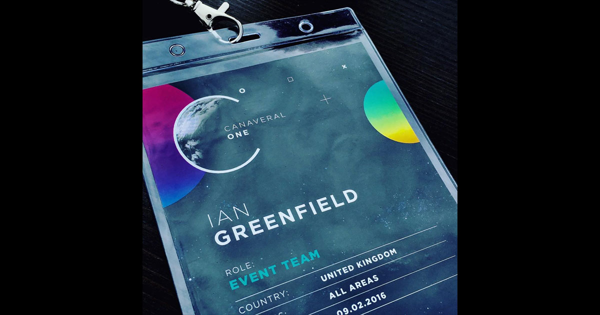 Name tag example, pulled from @production_bureau: full-color name badge insert with company name, person's name, role on the team, country, and more