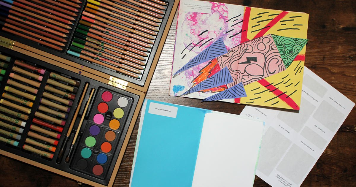 Create a notebook for arts and crafts that includes prompts for each day
