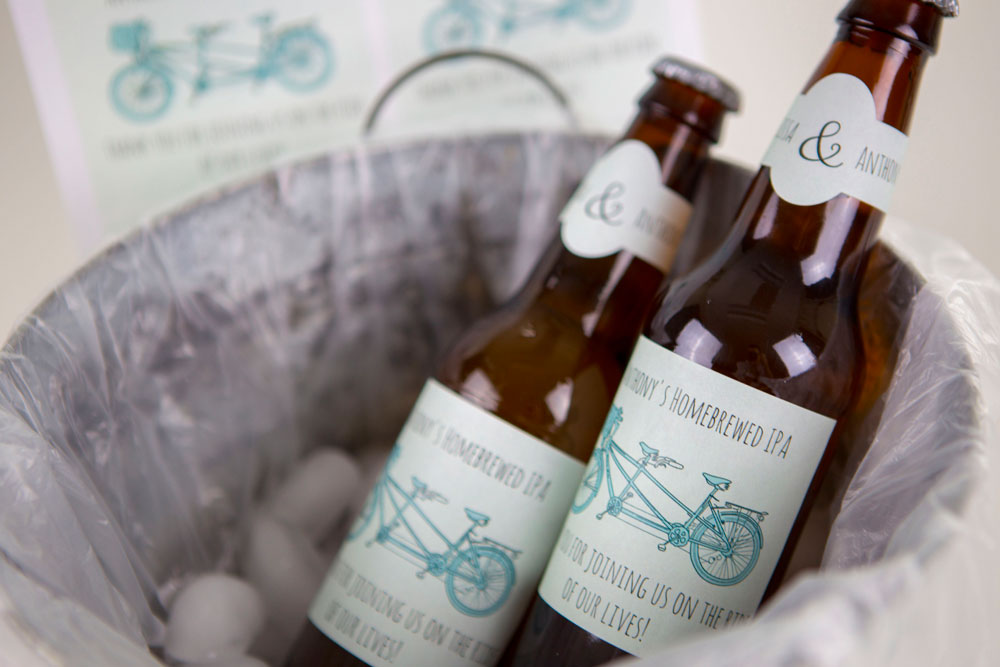 Bicycle Wedding Beer Bottle Template with Neck Label