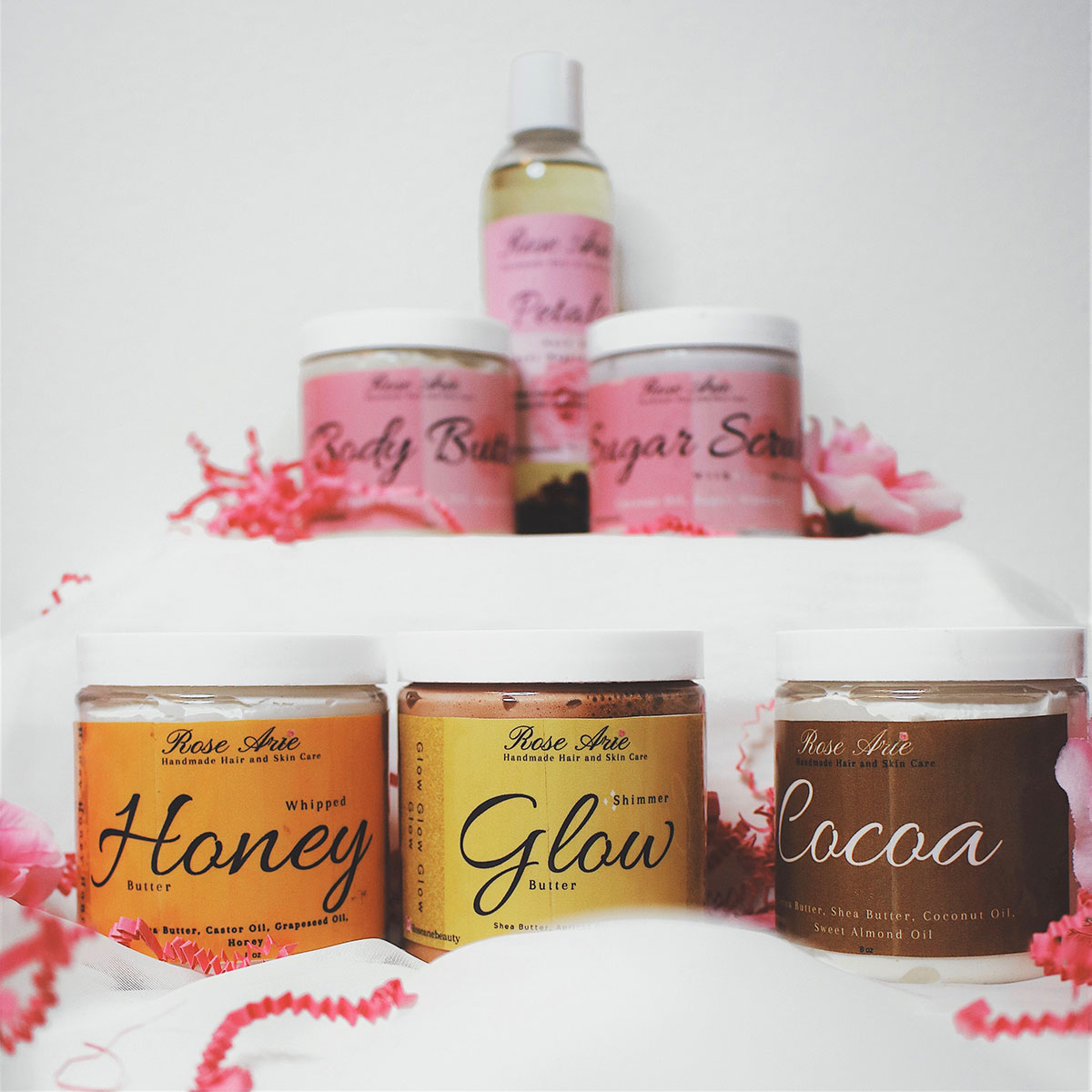 Full line of products by homemade skincare brand Rose Arie Beauty