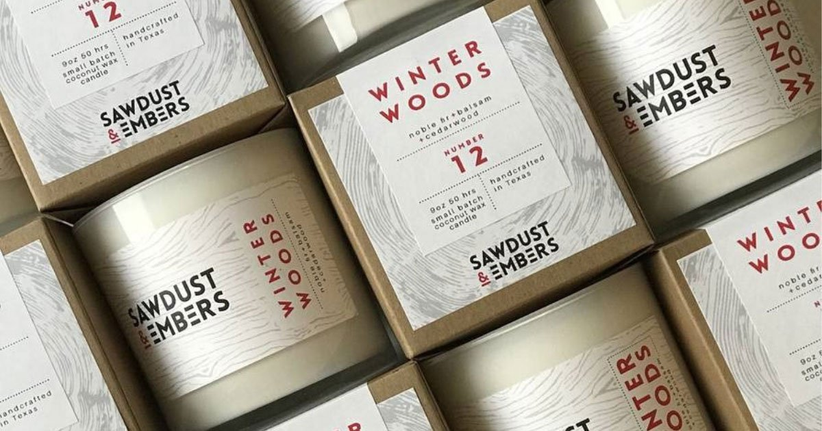 Product shot of Sawdust & Embers candles