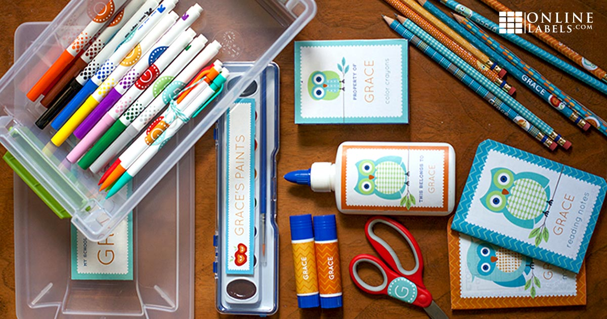 Keep school supplies organized with these printable label templates