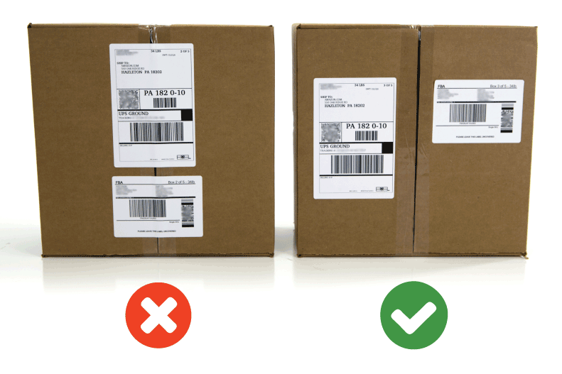 Right and wrong way to apply an Amazon FBA shipping label
