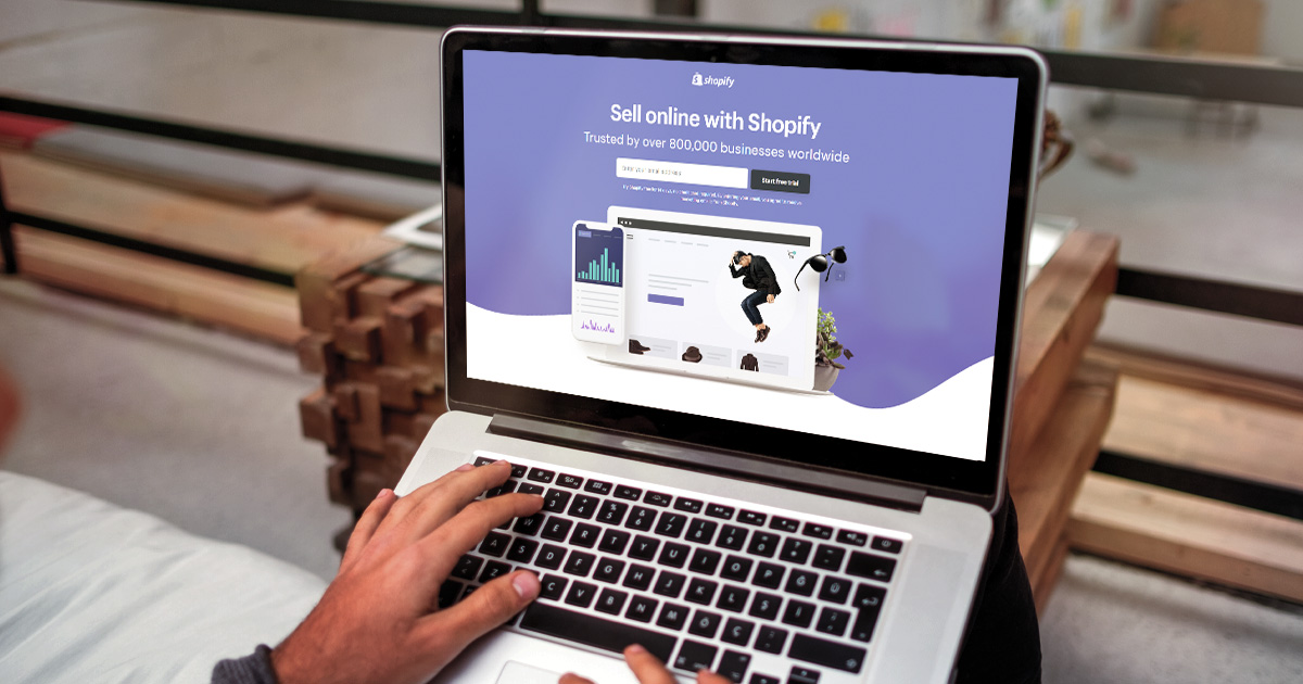 Shopify homepage: webstore option for small businesses.