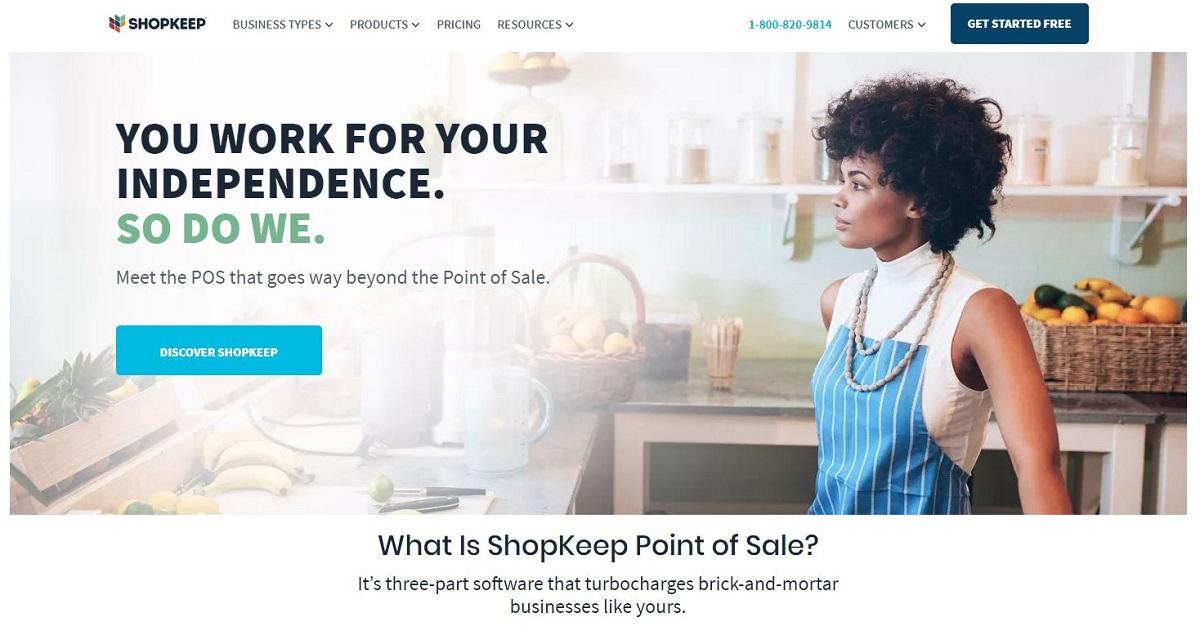ShopKeep POS homepage