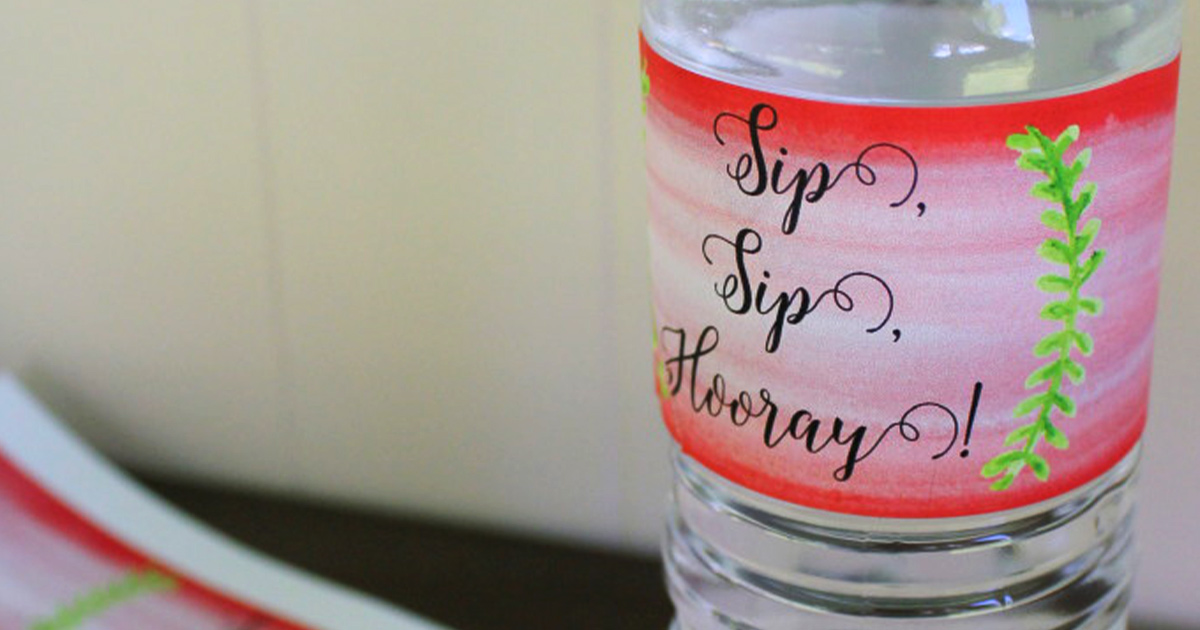 """Sip Sip Hooray"" custom water bottles + labels for wedding welcome bags"