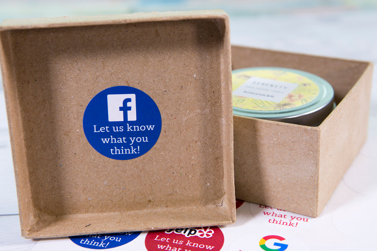 'Let us know what you think' social review feedback stickers for ecommerce packaging