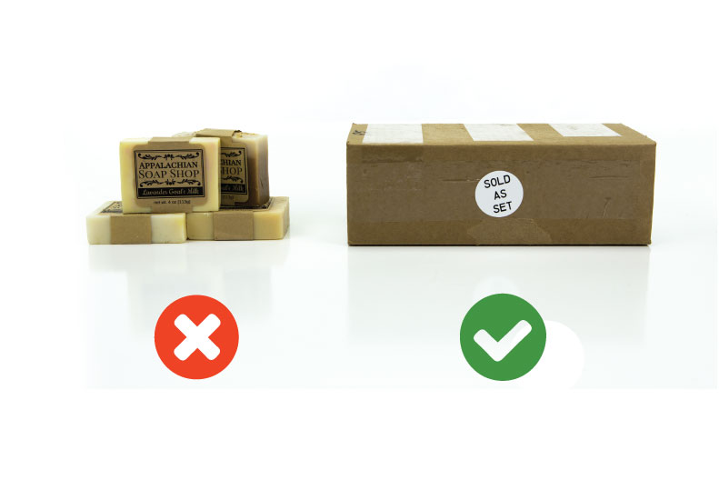 Right and wrong way to label a set of products for Amazon FBA