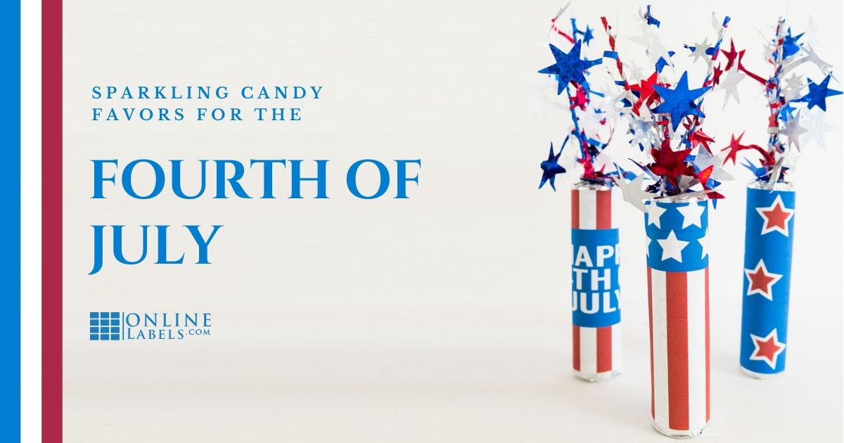 Candy favor idea for your 4th of July party: sparkler-themed rolls of candy