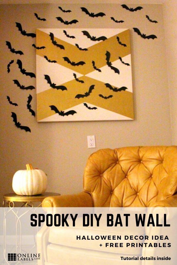 Pinterest tutorial: bat wall for Halloween