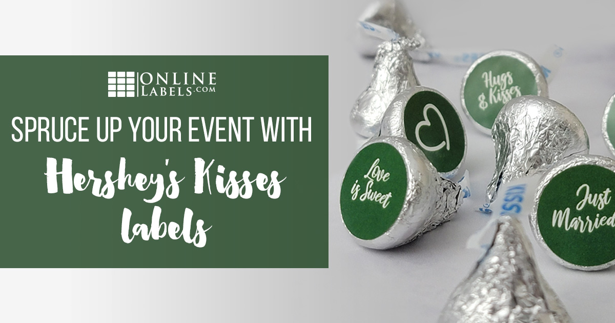 Hershey's Kisses with wedding stickers