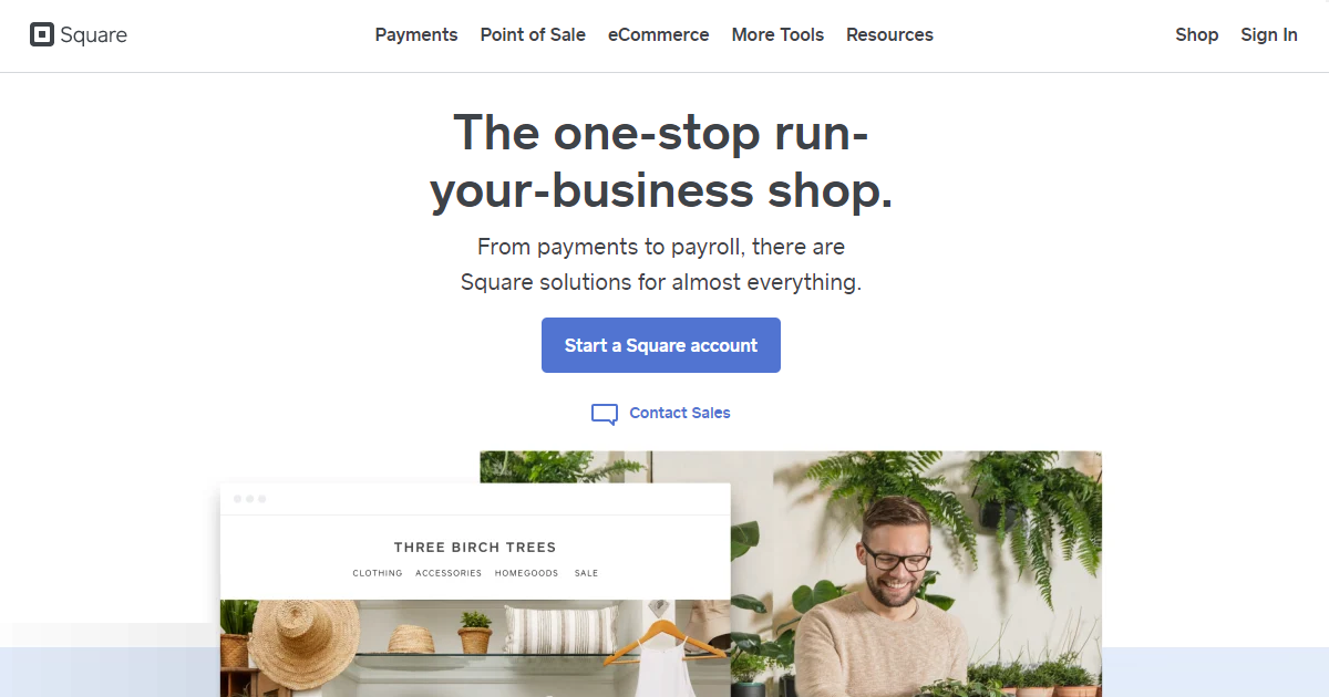 Square merchant services homepage