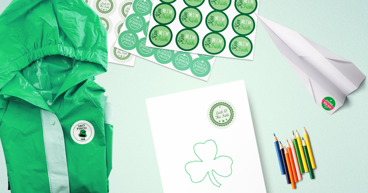 Free printable sticker/label templates so you don't get pinched on St. Patrick's Day