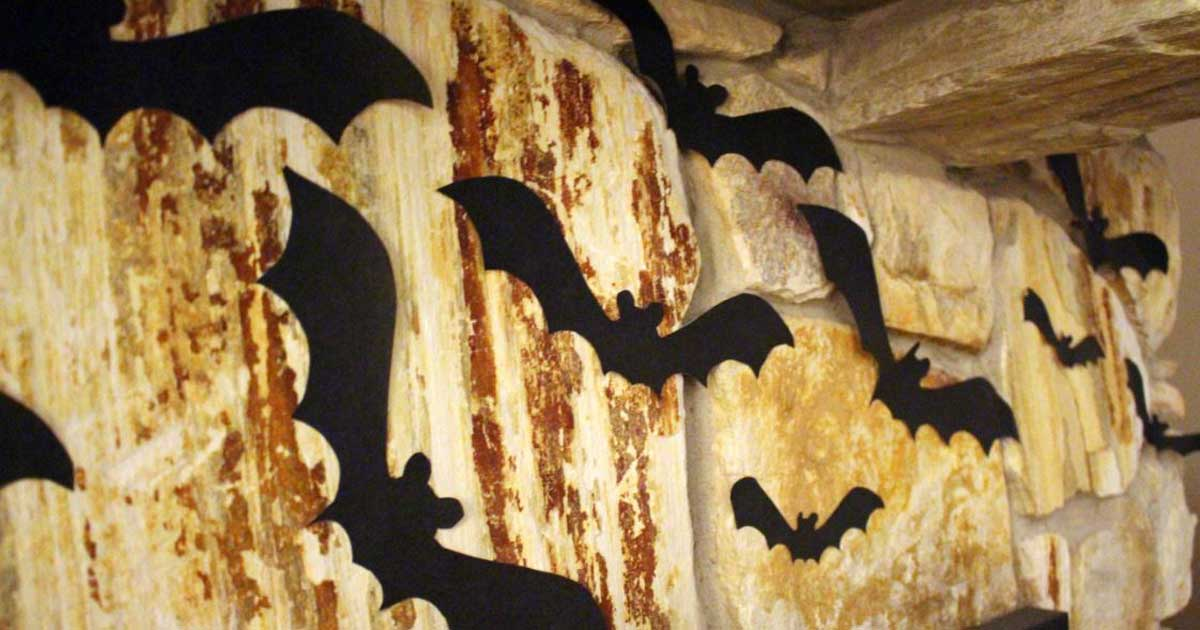 Bat stickers on wall for Halloween