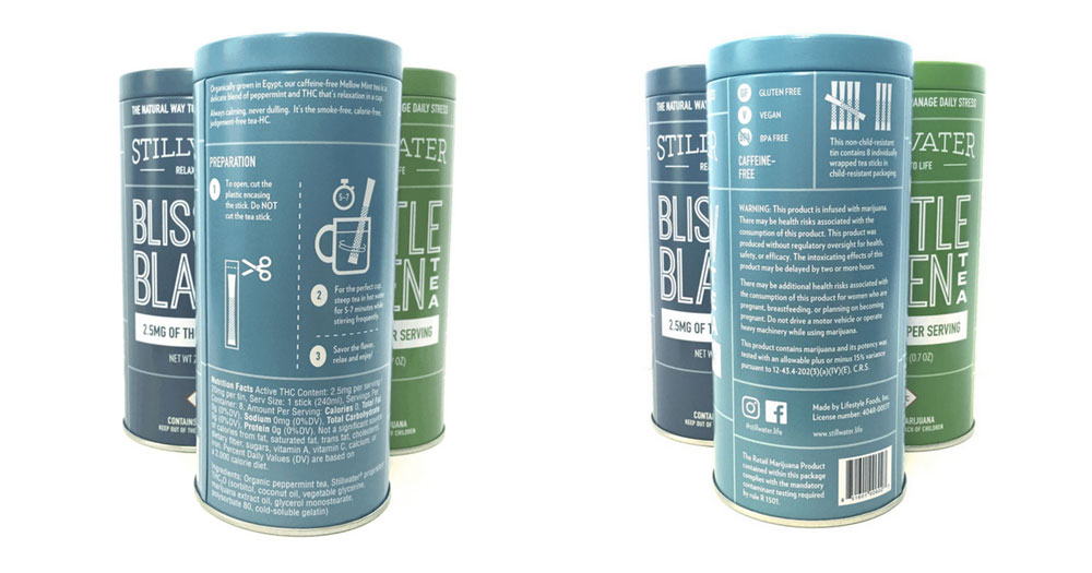 Front and back of cannabis product and compliance information.