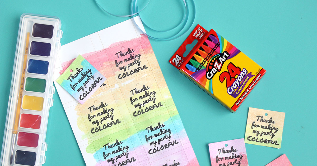 Attach string to cardstock party favors to start using