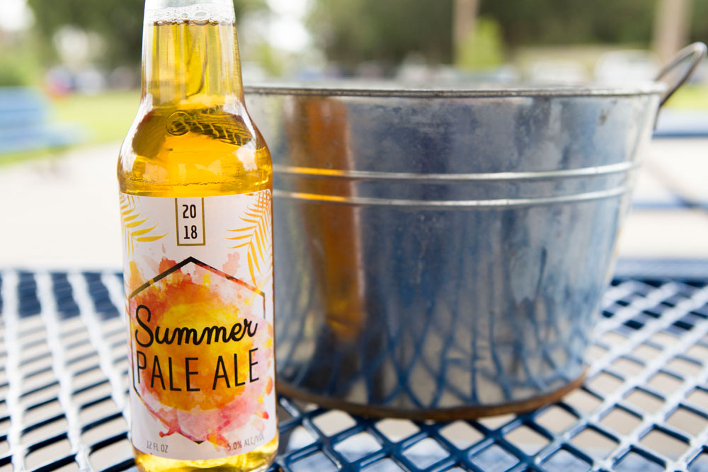 Pre-designed Summer Ale beer bottle template