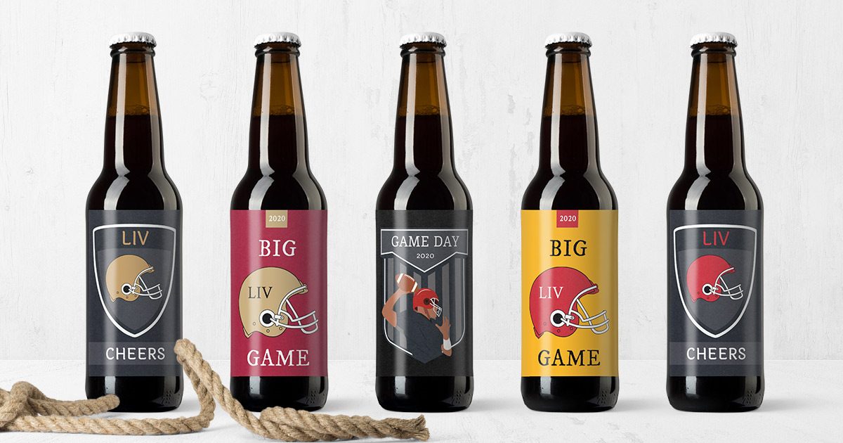 Free beer bottle label templates for the big Sunday football game/watch party