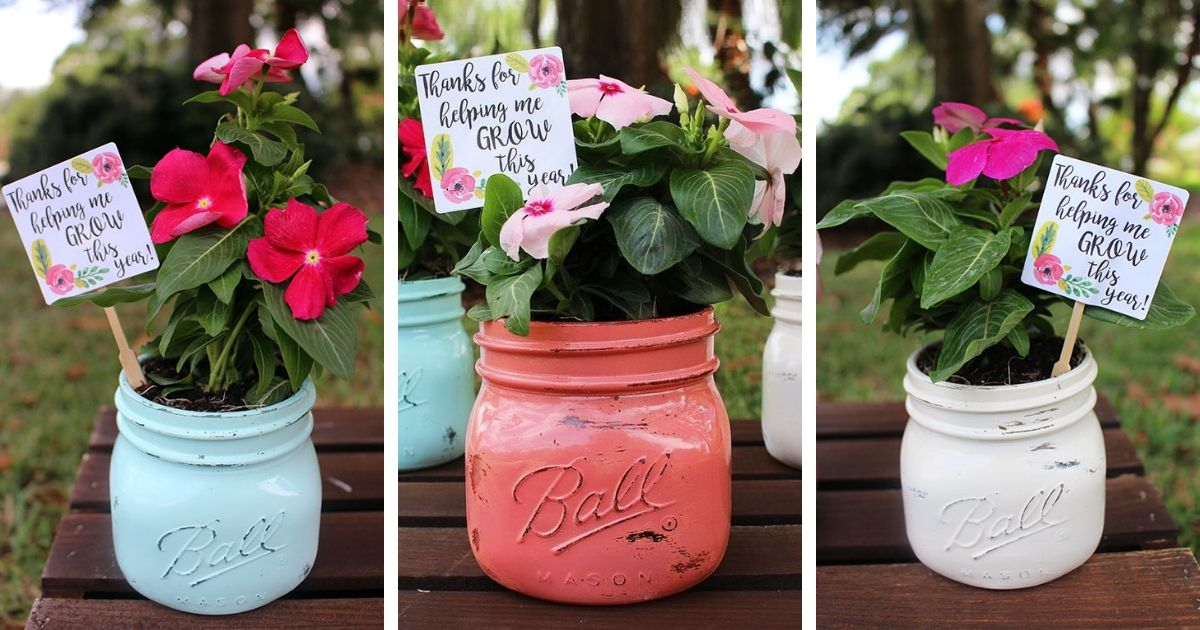 "Final gift for teachers: ""thanks for helping me grow"" printable in a beautiful DIY flower pot"