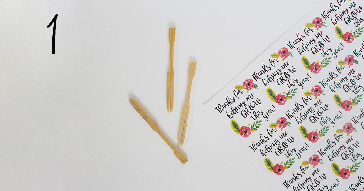 "How to assemble your ""thanks for helping me grow"" printable label template on sticks to add to a flower pot for your child's teacher, step 1"
