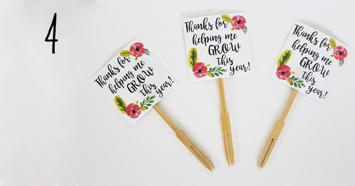 "How to assemble your ""thanks for helping me grow"" printable label template on sticks to add to a flower pot for your child's teacher, step 4"