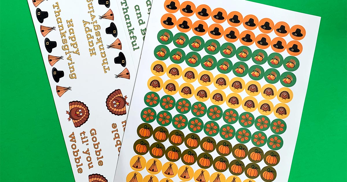 Thanksgiving treat bag printables.
