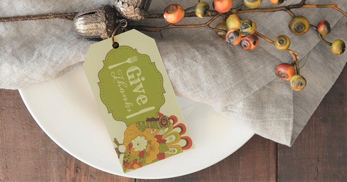 Give Thanks printable cardstock tag template in use