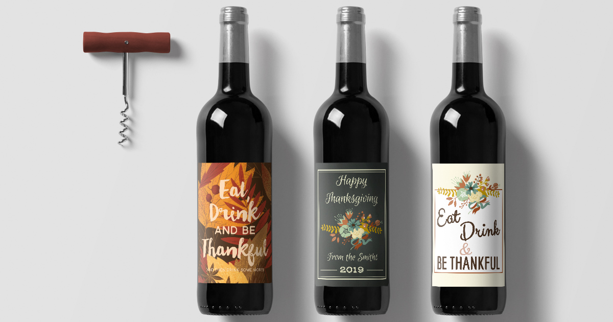 Free printable wine bottle label templates you can download for Fall and Thanksgiving