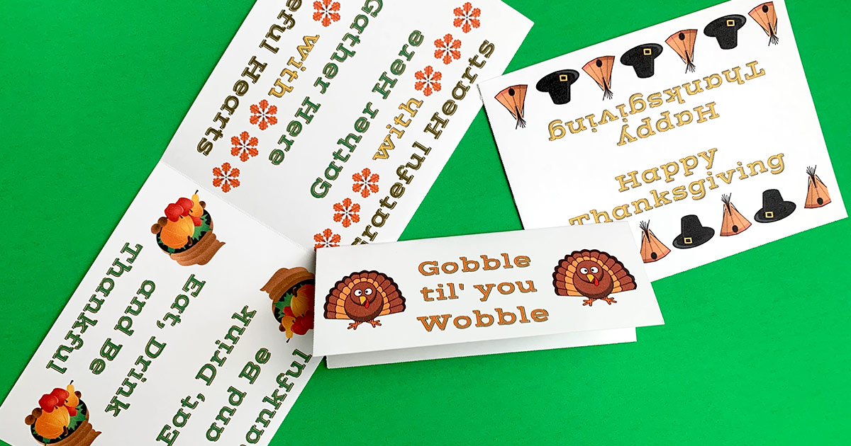 Folded Thanksgiving header cards.