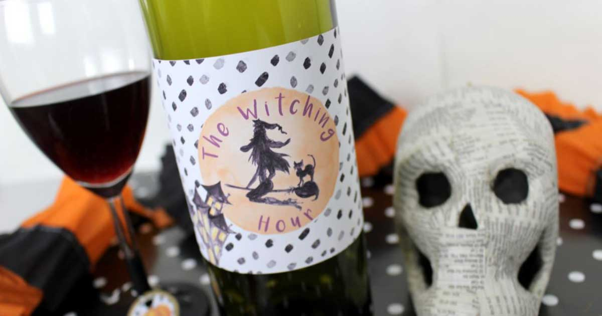 Printable wine bottle label template for Halloween