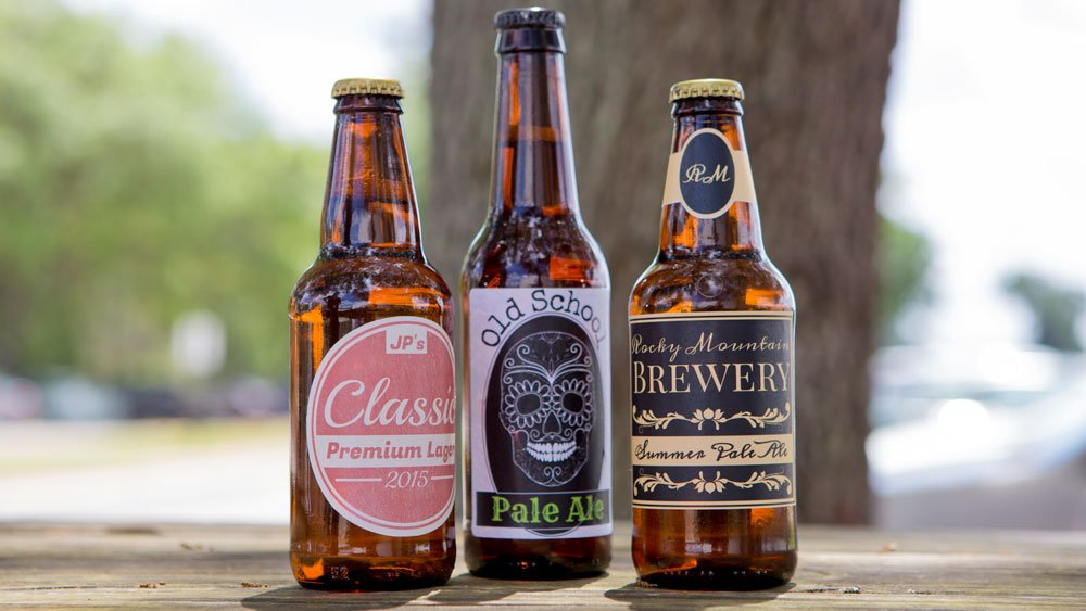 Three beer bottle labels with custom pre-designed templates.