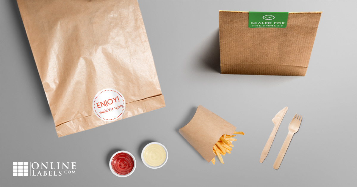 Brown paper takeout bag folded-over with safety seal in place of a stapled receipt