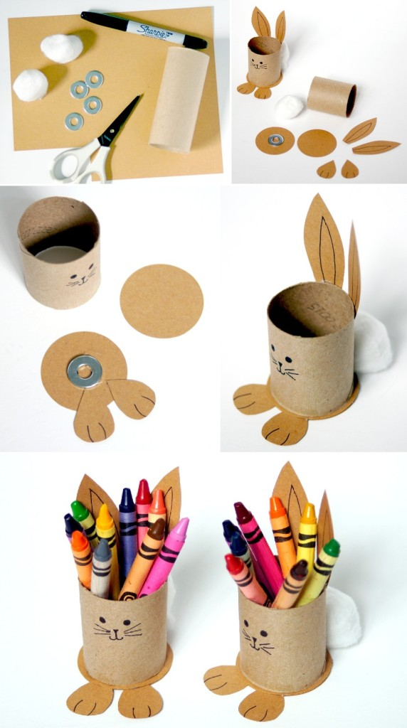 Easter table decorations for kids: DIY bunny crayon holder
