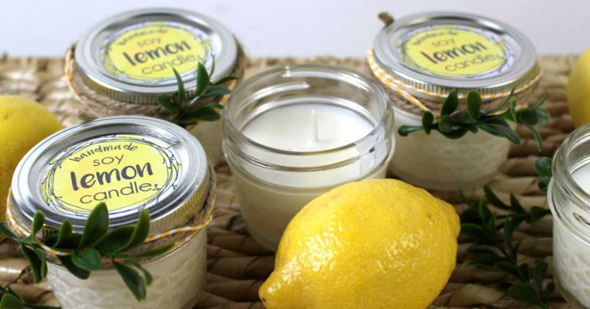 Finished DIY soy candle label with lemon essential oils