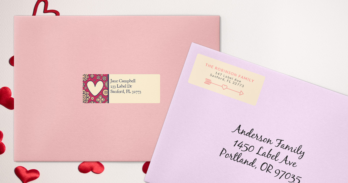 Free label templates you can add to cards for Valentine's Day