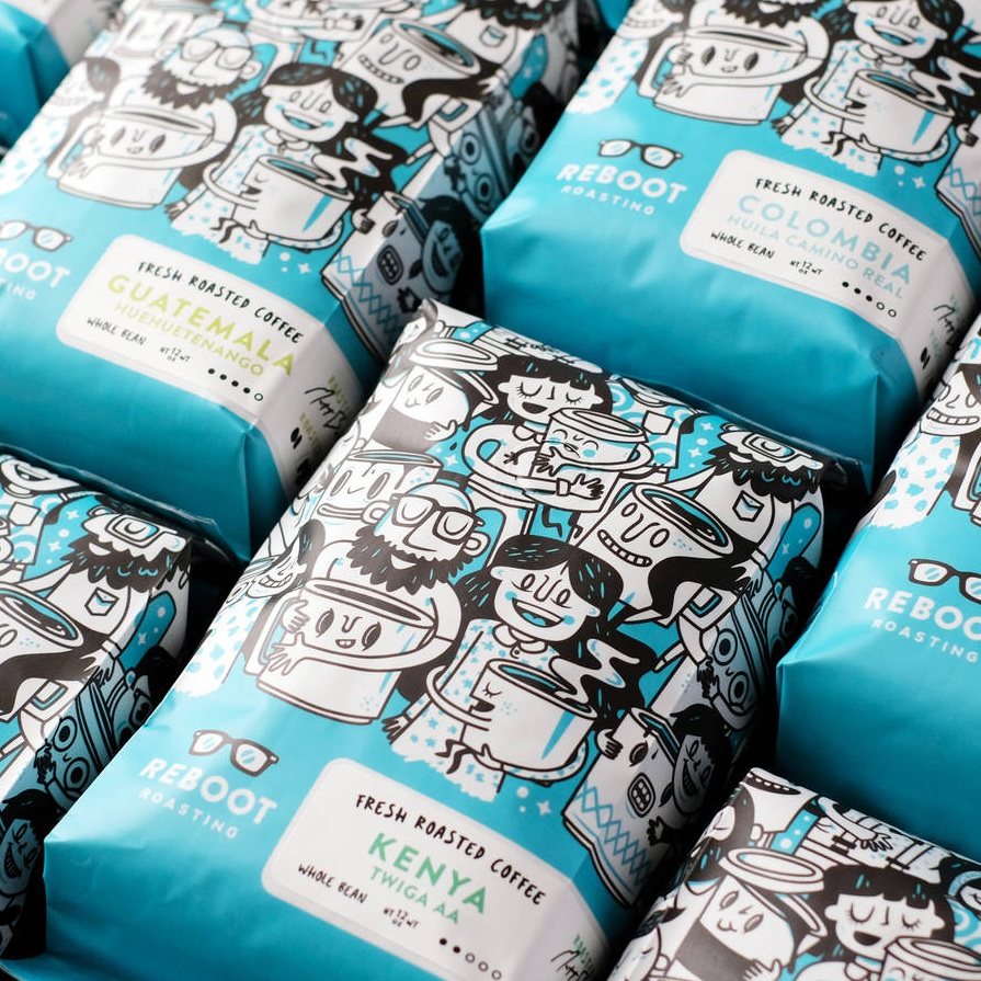 Reboot Roasting coffee bag labels