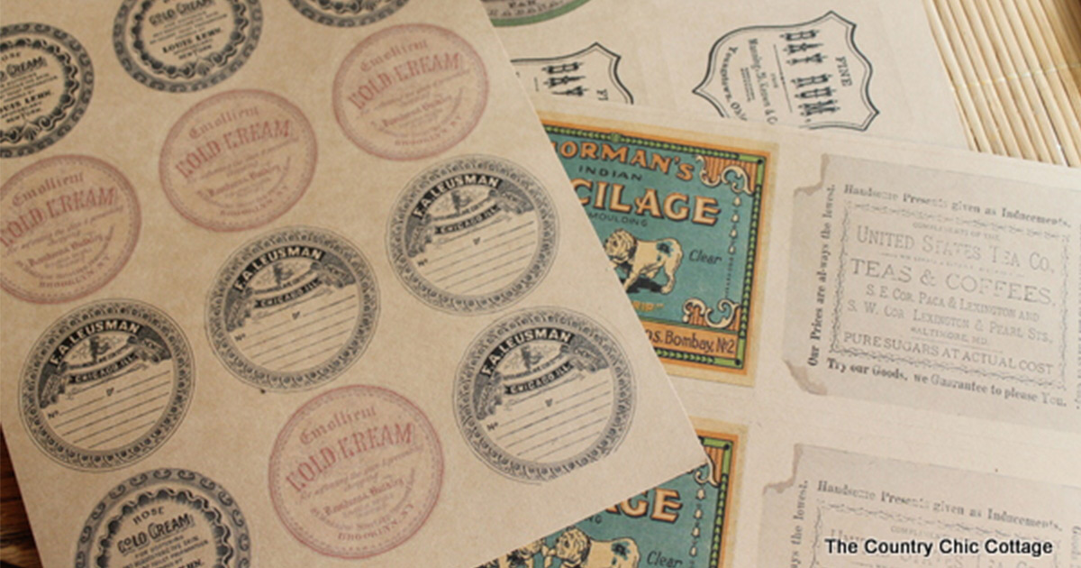 Printed label sheets with vintage product label designs and templates