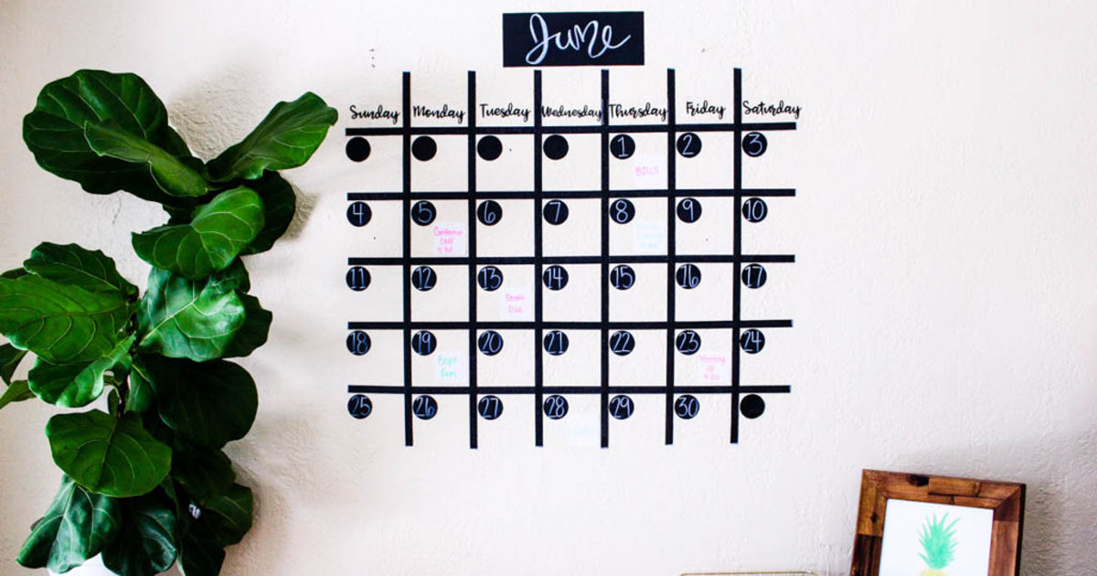 Wall calendar made from chalkboard labels